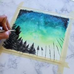 Shot a quick little green starry night process video for today! I love how vibrant the green always turns out, so any chance to use it I… Painting Inspiration, Art Inspo, Night Sky Painting, Music Artwork, Galaxy Art, Watercolor Paintings, Watercolor Paper, Painting & Drawing, Diy Painting
