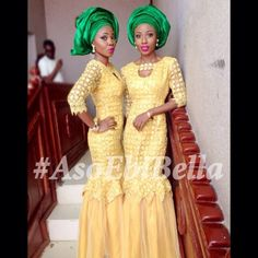Nigerian wedding styles. Aso ebi styles. Yellow guipure lace dresses with green Gele.