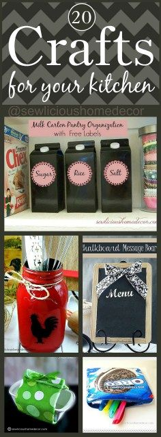 20 Best Craft Projects and Recycled DIYs for your kitchen.  sewlicioushomedecor.com