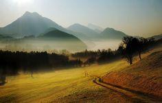 Яшмово-сизой стылая стала гора. В русле все выше влаги осенней раскат.  Ван Вэй