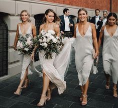 Wedding Bridesmaids Pictures, Bridesmaid Dresses, Cheap Bridesmaid Dress, Romantic Wedding Sheath V-Neck Simple Backless Silver Bridesmaid Dress with Split White Brides Maid Dresses, Slip Bridesmaids Dresses, Wedding Bridesmaids, Wedding Dresses, Dresses Dresses, White Bridesmaid Dresses Long, Slip Wedding Dress, Bridesmaid Pictures, Dream Wedding