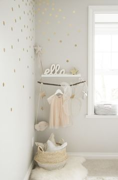 A chic toddler room inspired by Pantone's color of the Year. It pairs rose quartz with gold accents and whimsical details like a play tent and a dress-up corner perfect for a little girl's bedroom. Baby Bedroom, Nursery Room, Girl Nursery, Girls Bedroom, Nursery Decor, Bedroom Decor, Baby Room Girls, Room Baby, Kids Girls