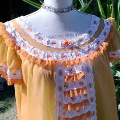 Camicia da notte shabby  chic vintage arancione