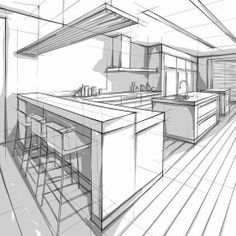 Vector illustration of interior design. Interior Architecture Drawing, Architecture Drawing Sketchbooks, Architecture Concept Drawings, Drawing Interior, Interior Design Sketches, Architecture Design, Perspective Room, Perspective Sketch, Architect Drawing
