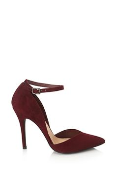 Red Faux Suede Pointy D'Orsay Ankle Strap Pumps Heels | FOREVER21 - 2000057849 $30