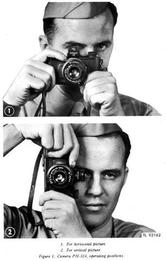 A basic way to hold the Kodak 35 (PH-324) U.S. Army Signal Corps rangefinder camera. Photos were taken out of the technical manual (TM 11-2361).