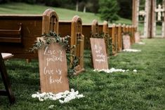 Corinthians Hand Lettered Pew Markers See more here: http://cedarwoodweddings.com/2015/05/southern-classic-family-style-wedding-juliekyle/