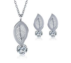 We just love the new style. Do you?: Rhodium Plated Le... Check it out here! http://parniswatches.net/products/rhodium-plated-leaf-shaped-stainless-steel-white-cubic-zirconia-jewelry-sets