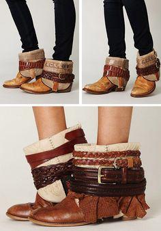diy-customisation-boots- avec de vieilles ceintures