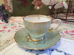 Tuscan-Vintage-Miniature-Tea-Cup-and-Saucer-Fine-Bone-China-Gilded-Floral-Pastel