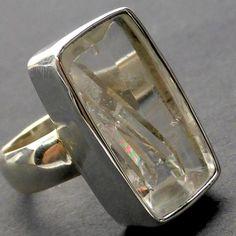 Manifestation Quartz Ring | 925 Sterling silver | Rainbow Crystal | Twin Soulmates | Creative Gestation and Birth | Crystal Heart Melbourne Australia since 1986