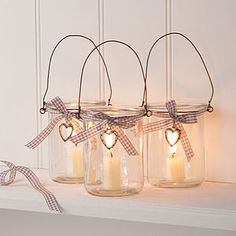 Glass Jar Votive Candle Lantern With Heart - candles & candle holders