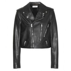 Saint Laurent Leather Biker Jacket (€3.595) ❤ liked on Polyvore featuring outerwear, jackets, coats, leather jackets, black, motorcycle jacket, leather biker jacket, black moto jacket, leather moto jacket and leather motorcycle jacket