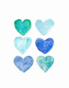 Aqua Watercolor 11x14 Heart Art Print Beach by OutsideInArtStudio, $23.00