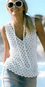 Bílá háčkování Thread q Crochet pattern for vest style top or tee. Irish lace, crochet, crochet patterns, clothing and decorations for the house, crocheted. This Pin was discovered by Sus Tejidos - Knitted - love this crochet shell Débardeurs Au Crochet, Moda Crochet, Pull Crochet, Gilet Crochet, Crochet Shirt, Crochet Woman, Crochet Cardigan, Crochet Style, Thread Crochet