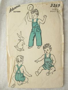 Advance 3269 Boys 1940s Bib Overalls Vintage Sewing by EmSewCrazy, $16.00
