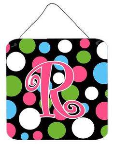 Letter R Initial Monogram - Polkadots and Pink Wall or Door Hanging Prints