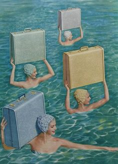 Synchronised swimming with luggage ~~~I had a suitcase and matching train case in blue from my grandma. SVM