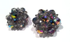 AB Mirrored Aurora Borealis Crystal Wired Cluster Clip on Earrings Vintage Spark
