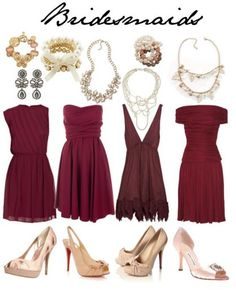 mismatched deep red bridesmaid dresses with nude pumps
