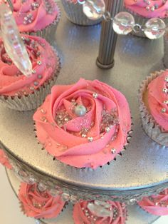 Pink & silver cupcakes for a sweet 16th birthday bash. #Pink cupcakes #pink and silver #sweet 16