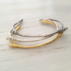 Handmade Lime twig bangles in silver, oxidised silver or 18K gold vermeil from MayaH Jewellery