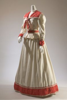 Haas Brothers, two-piece dress, red and white cotton, circa 1894, USA
