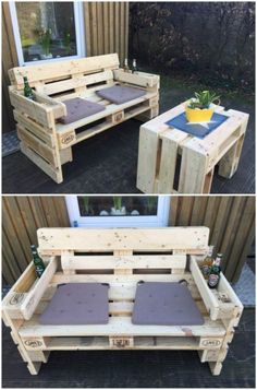 ▷ 56 + Ideas and pictures about pallet furniture terrace ▷ 56 + Ideen und Bilder zum Thema Palettenmöbel Terrasse take a look at this idea on the subject of pallet furniture terrace a wooden sofa and two purple cushions and a table made of old europallets Pallet Furniture Designs, Pallet Garden Furniture, Wooden Pallet Projects, Diy Outdoor Furniture, Pallet Crafts, Diy Furniture Projects, Wooden Pallets, Wooden Sofa, Garden Pallet