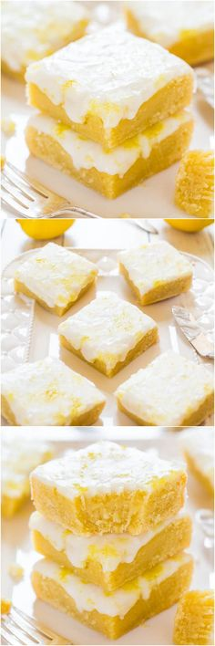 8 lovely lemon recipes Lemon Lemonies - Like brownies, but made with lemon and white chocolate! Dense, chewy, not cakey and packed with big, bold lemon flavor! Lemon Desserts, Lemon Recipes, Just Desserts, Sweet Recipes, Delicious Desserts, Potato Recipes, Cookie Recipes, Dessert Recipes, Bar Recipes