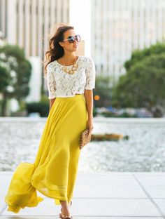 how to wear lace tops | Here's how to style a lace top + maxi skirt outfit:  For maximum elegance, opt for a maxi-skirt in the softest fabric you can. Silk, chiffon and organza are the best, but if you want to stay on a budget you've got a ton of alternatives too with acrylic fabrics. Just make sure the fabric is thin, soft and transparent, and that the skirt has a well refined and thicker linen. Read more on Femalejungle.com