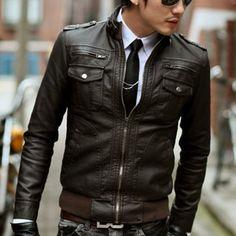 6dd3011539e46 Dress shirt plus a tie under a leather jacket, I like that. Jakub Nowak