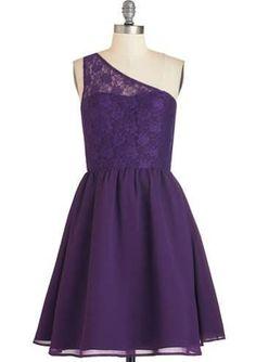 ModCloth Mid-length One Shoulder Fit & Flare Plum Kind of Wonderful Dress