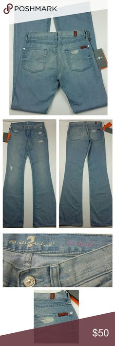 """7 FOR ALL MANKIND light wash bootcut jeans 24 NWT, never worn, right leg has stains from the carton box where it was stored, should come off when washed, 14.5"""" waist, 7.5"""" rise, 10.5"""" thigh, 33"""" inseam, 9"""" leg opening, 98% cotton, 2% elastane. 7 For All Mankind Jeans Boot Cut"""