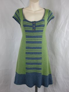 SHOP●NOW●MY DAUGHTERS●EBAY●STORE White Stuff Modcloth Sweater Dress Green Gray Stripe Boho Hippie Cashmere 8 s M