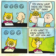 Charlie Brown and Sally discuss the '@' sign.