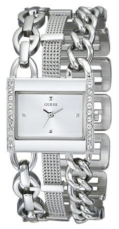 GUESS Women's U0433L1 Crystal-Accented Silver-Tone Watch with Link Bracelet