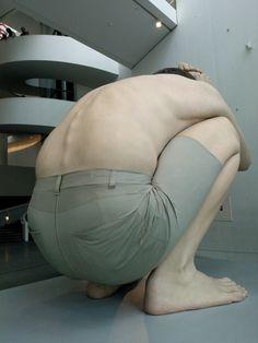 """Boy"" - sculpture by Australian artist Ron Mueck, is the symbol of ARoS Aarhus Museum of Art, Denmark. #allgoodthings #danish #museum spotted by @missdesignsays | #syddanmark"