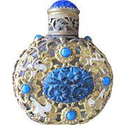 Jeweled Czechoslovakian Perfume Bottle Blue Lapis Stone Enameled Flowers Filigree
