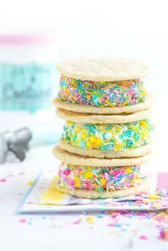 Sugar Cookie Ice Cream Sandwiches {with Video!} | Sweetapolita