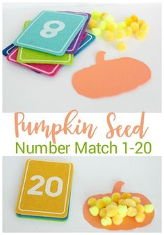 Practice counting with this fun pumpkin seed number matching game. Count out the seeds for each pumpkin with your preschooler.