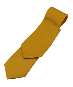 Brand Q Solid Satin Men's Necktie and Pocket Square set in Mustard