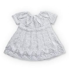 Free knitting pattern for a baby dress with a fairy leaves stitch detail. Suitable for 12 and 18 months. Free knitting pattern for a baby dress with a fairy leaves stitch detail. Suitable for 12 and 18 months. Baby Knitting Patterns, Baby Patterns, Free Knitting, Dress Patterns, Häkelanleitung Baby, Knit Baby Dress, Baby Pullover, Baby Sweaters, Free Pattern