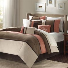 Palisades offers you a casual alternative in fashion bedding.  The reverse of the comforter is solid coral.  The soft microsued in khaki, brown and warm coral is peiced together to create this beautiful bed.  The decorative pillows are embroidered and pieced to add a decorative element to this simple, yet beautiful bedding collection.