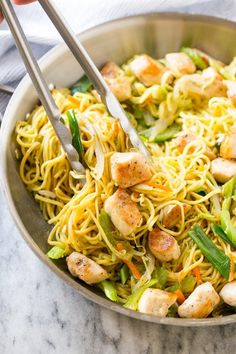 This easy chicken chow mein recipe is full of seasoned chicken, veggies and noodles, all tossed together in a savory sauce. So much better than take out!