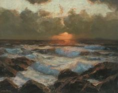 Julius Olsson painting, Sunrise