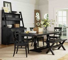 Ashley Dining Room Sets for Socializing and Coziness — Office PDX Kitchen Black Dining Table Set, Black Dining Room Furniture, Wooden Dining Chairs, Black Dining Chairs, Casual Dining Rooms, Dining Table With Bench, Dining Decor, Dining Room Design, Dining Room Chairs