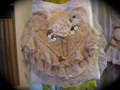 Handmade Fabric Bag, vintage crocheted doilies...
