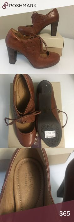Clarks Shoes Womens 8.5 M Beautiful Tan leather heels with soft padded insoles.  New With Box. Clarks Shoes Ankle Boots & Booties