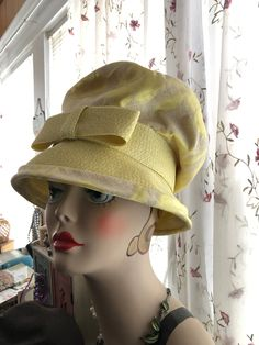 818ba565b6081 Dramatic Late 1960s Vintage Women s Hat by MR JOHN Jr Yellow FLORAL Brocade  Large Crown Yellow Straw Brim and Bow Hat Maker to the Stars