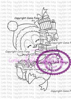 Digital Stamp, Digi Stamp, Snowy Delivering Presents by Conie Fong, Penguin…